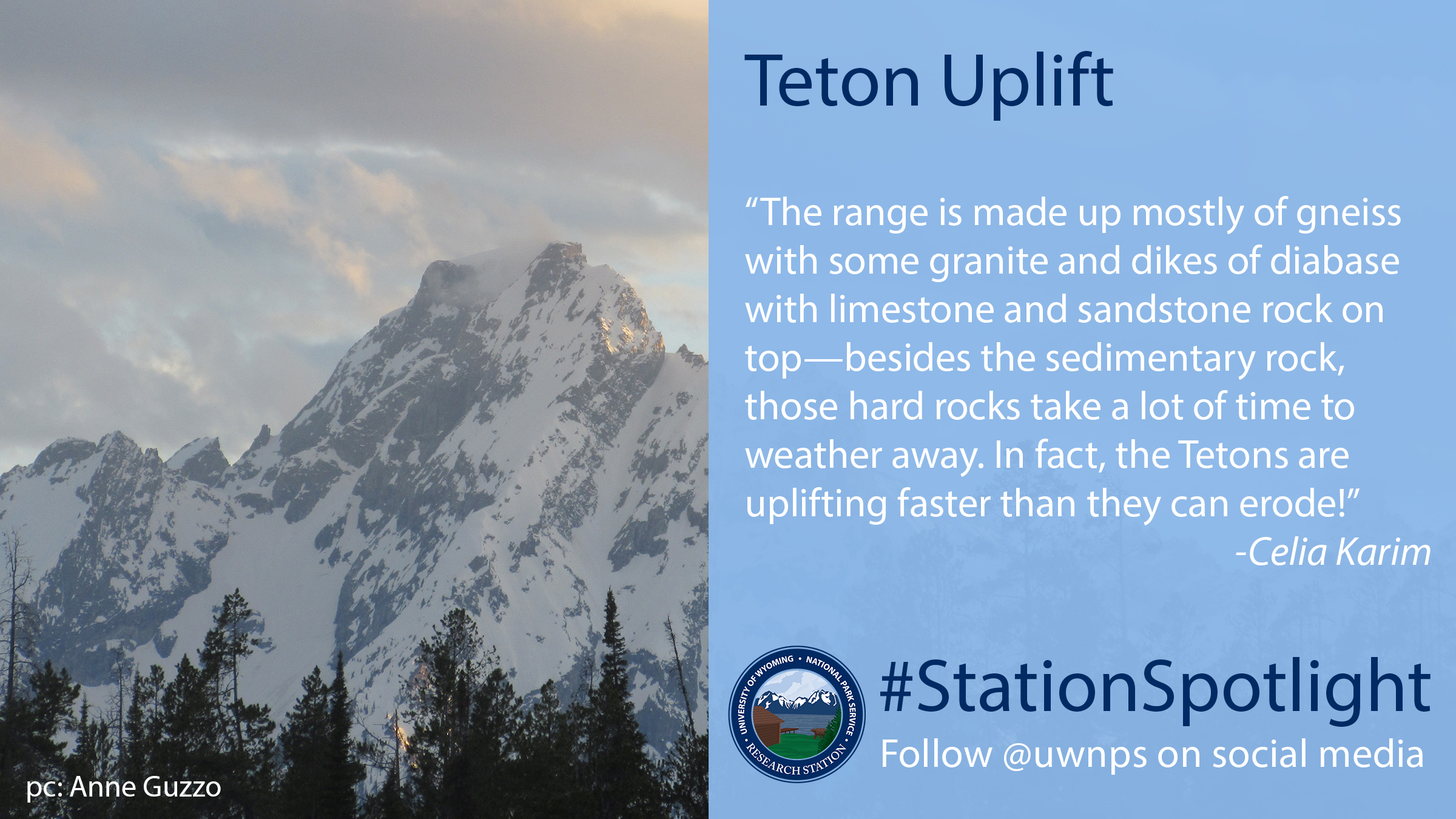 Clouds blowing across the top of the Grand Teton